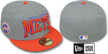 Mets 'PRO-ARCH' Grey-Orange Fitted Hat by New Era