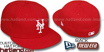 Mets 'TEAM-BASIC' Red-White Fitted Hat by New Era