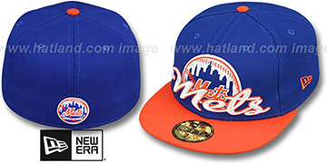 Mets SCRIPT-PUNCH Royal-Orange Fitted Hat by New Era