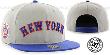 Mets 'SCRIPT-SIDE SNAPBACK' Grey-Royal Hat by Twins 47 Brand