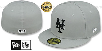 Mets 'TEAM-BASIC' Grey-Black-White Fitted Hat by New Era