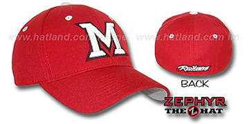 Miami Ohio 'DH' Fitted Hat by Zephyr - red