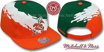 Miami 'PAINTBRUSH SNAPBACK' Green-White-Orange Hat by Mitchell & Ness