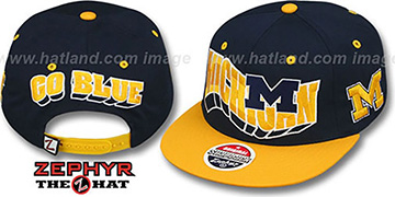 Michigan 2T FLASHBACK SNAPBACK Navy-Gold Hat by Zephyr