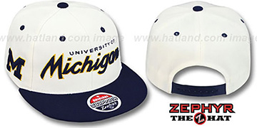 Michigan '2T HEADLINER SNAPBACK' White-Navy Hat by Zephyr