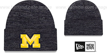 Michigan BEVEL Navy-Grey Knit Beanie Hat by New Era