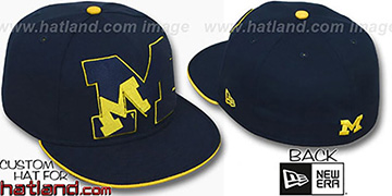 Michigan INSIDER BIG-ONE Navy Fitted Hat by New Era