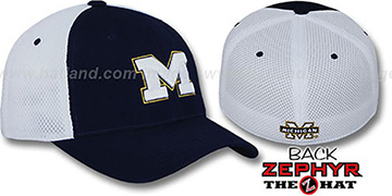 Michigan 'SHORTSTOP' Fitted Hat by Zephyr - navy-white