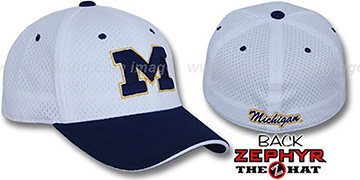 Michigan 'SPLIT BP-MESH' White-Navy Fitted Hat by Zephyr