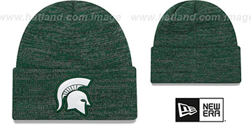 Michigan State BEVEL Green-Grey Knit Beanie Hat by New Era