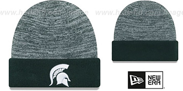 Michigan State TEAM-RAPID Green-White Knit Beanie Hat by New Era