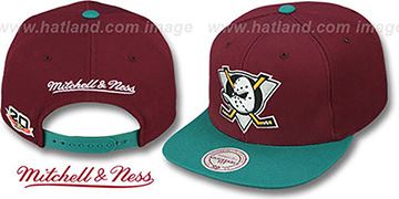 Mighty Ducks 'BASIC VINTAGE SNAPBACK' Plum-Teal Hat by Mitchell and Ness