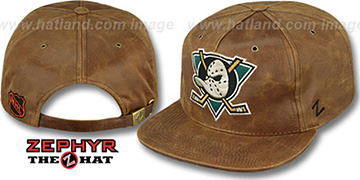 Mighty Ducks 'DYNASTY LEATHER STRAPBACK' Brown Hat Zephyr