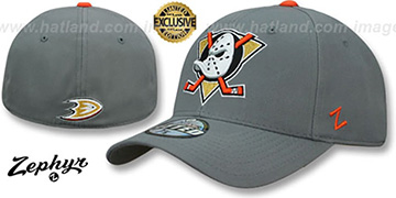 Mighty Ducks SHOOTOUT Grey Fitted Hat by Zephyr
