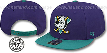 Mighty Ducks 'SURE-SHOT SNAPBACK' Purple-Teal Hat by Twins 47 Brand