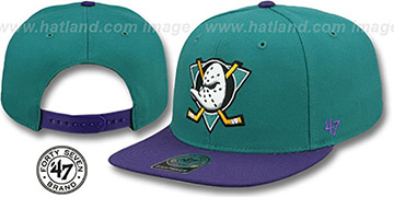 Mighty Ducks 'SURE-SHOT SNAPBACK' Teal-Purple Hat by Twins 47 Brand