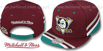 Mighty Ducks 'TEAM JERSEY SNAPBACK' Plum Hat by Mitchell and Ness