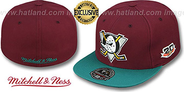 Mighty Ducks 'VINTAGE CLASSIC' Plum-Teal Fitted Hat by Mitchell and Ness