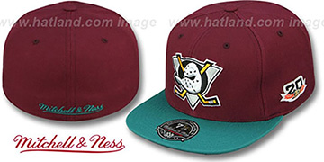 Mighty Ducks 'VINTAGE CLASSIC' Plum-Teal Fitted Hat by Mitchell & Ness