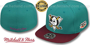 Mighty Ducks 'VINTAGE CLASSIC' Teal-Plum Fitted Hat by Mitchell and Ness