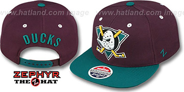 Mighty Ducks 'VINTAGE-TEAM SNAPBACK' Plum-Teal Hat by Zephyr