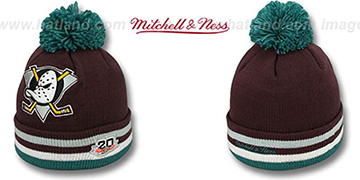 Mighty Ducks XL-LOGO BEANIE ROAD Plum by Mitchell and Ness