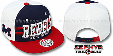 Mississippi '2T SUPERSONIC SNAPBACK' Navy-Red Hat by Zephyr