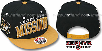 Missouri 2T SUPER-ARCH SNAPBACK Black-Gold Hat by Zephyr