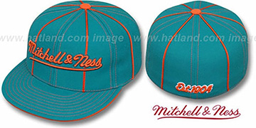 Mitchell and Ness CONTRAST PIPING Aqua Fitted Hat