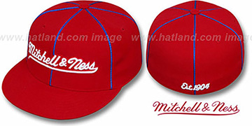 Mitchell and Ness 'PIPING' Red-Royal Fitted Hat