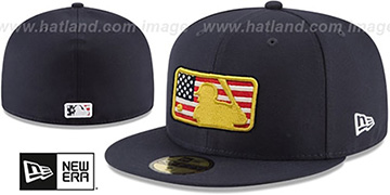 MLB Umpire 2018 JULY 4TH STARS N STRIPES Navy Fitted Hat by New Era
