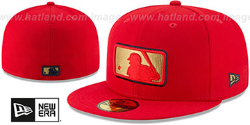 MLB Umpire 'GOLD METALLIC STOPPER' Red Fitted Hat by New Era