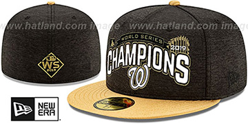Nationals '2019 WORLD SERIES' CHAMPIONS Black-Gold Fitted Hat by New Era