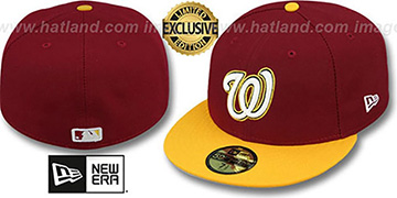 Nationals 2T OPPOSITE-TEAM Burgundy-Gold Fitted Hat by New Era
