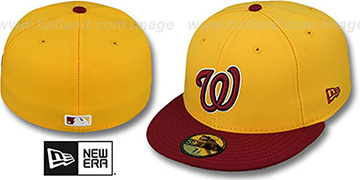 Nationals 2T OPPOSITE-TEAM Gold-Burgundy Fitted Hat by New Era