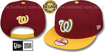 Nationals 2T OPPOSITE-TEAM SNAPBACK Burgundy-Gold Hat by New Era