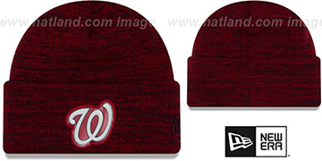 Nationals 'BEVEL' Red-Navy Knit Beanie Hat by New Era