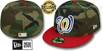 Nationals 'CAMO TYE-DYE INSIDER' Army-Red Fitted Hat by New Era