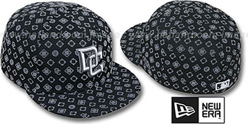 Nationals D-LUX ALL-OVER Black-Grey Fitted Hat by New Era