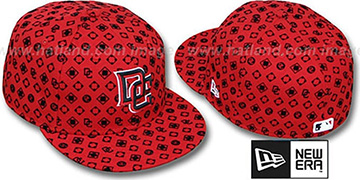 Nationals D-LUX ALL-OVER Red-Black Fitted Hat by New Era