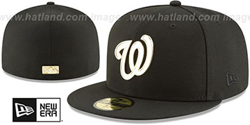 Nationals GOLDEN-BADGE Black Fitted Hat by New Era