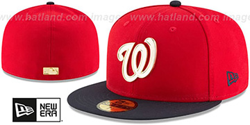 Nationals 'GOLDEN-BADGE' Red-Navy Fitted Hat by New Era