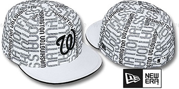 Nationals GOOD TIMES ALL-OVER White-Black Fitted Hat by New Era
