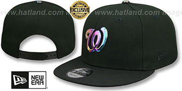 Nationals IRIDESCENT 'METAL-BADGE SNAPBACK' Black Hat by New Era
