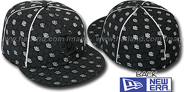 Nationals KWAN ALL-OVER FLOCKING Black-Silver Fitted Hat by New Era