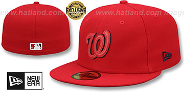 Nationals LEATHER POP Red Fitted Hat by New Era