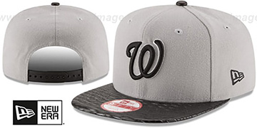 Nationals LEATHER-RIP SNAPBACK Grey-Black Hat by New Era