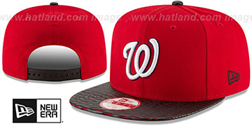 Nationals LEATHER-RIP SNAPBACK Red-Black Hat by New Era