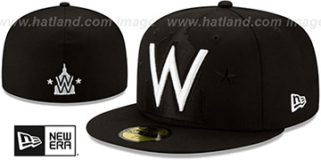 Nationals 'LOGO ELEMENTS' Black-White Fitted Hat by New Era