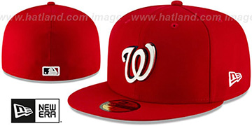 Nationals METAL-N-THREAD Red Fitted Hat by New Era